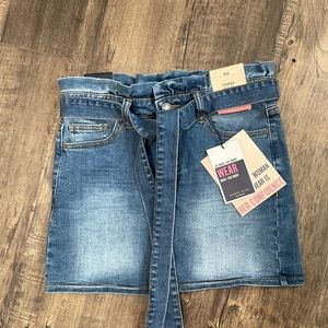 Angel Kiss paper bag  waist Jean mini skirt